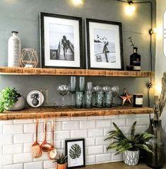 Home Decor wall # amazing # for # kitchen shelves - Offene küchenregale - Decor world Kitchen Shelf Inspiration, Cocina Diy, Bar Cart Decor, Kitchen Shelves, Kitchen Cupboard, Küchen Design, Design Ideas, Wall Design, Modern Design