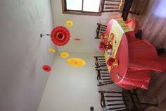 Tablescape #2, working the red and yellow  #red #yellow #babyshower #decor #retro #vintage #rickrack #tissuefans