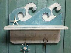 Waves Shelf Key Holder Hook Rack Sign Wall Beach House Decor CastawaysHall ( I love this shelf/key holder. Deco Marine, Wall Key Holder, Ideas Hogar, Beach House Decor, Home Decor, Nautical Home, Beach Signs, Creative Walls, Beach Crafts
