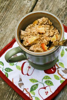 """Apple Banana """"Baked"""" Oatmeal in a Mug 1/2 cup quick cooking oats 1 tbsp ground flax seed 1 egg 1/2 cup milk 1/3 of a banana, mashed 1/4 tsp cinnamon 1/2 of an apple, chopped 2 tsp honey"""
