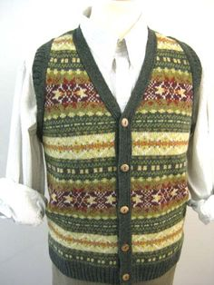 Button Through Fair Isle Waistcoat Sweater Vests, Wool Sweaters, Jumpers, Knits, Knitwear, Knitting Patterns, Fall Winter, Costumes, Button