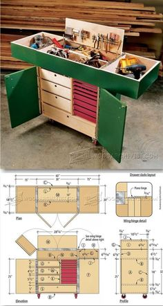 Woodworking Shop Layout, Woodworking Workshop, Woodworking Projects Plans, Diy Woodworking, Wood Tool Box, Wood Tools, Workshop Storage, Tool Storage, Wood Shop Projects