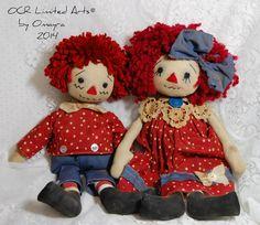 Custom Raggedy Ann & Andy Homemade Dolls, Raggedy Ann And Andy, Unique Art, Art Dolls, Teddy Bear, Toys, Board, Classic, Handmade