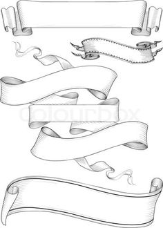 Stock vector of 'ribbon banners engravin style'