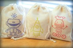 Robot Rocket Set muslin cotton favor bag 15 with stamp gift sack boy birthday party baby shower goodies treat bag on Etsy, $13.00