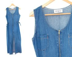 Long denim by LiveToLiveVintage Long Denim Dress, Blue Denim Dress, Jeans Dress, Dress Long, Pants, Vintage Denim, Basic Tank Top, Overalls, Tank Tops