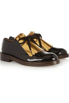 Marni | Fringed patent-leather brogues | NET-A-PORTER.COM this is giving me life right now