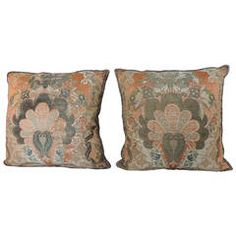 Pair of French Brocade Orange Silk Pillows