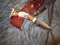"""Hunting Knife Ken Richardson CUSTOM MADE N USA CARVED Deer  4"""" DROP BLADE #KenRichardsonKnives"""