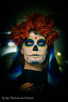 Santa Muertos makeup #muertos #halloween #makeup #wheelove