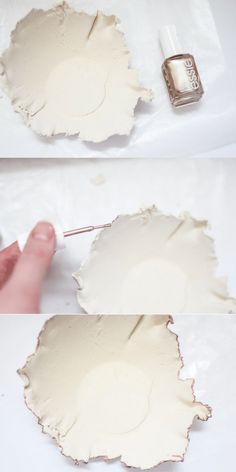 DIY Air Dry Clay Gold Rimmed Bowl - Pocketful of Posies - Hi All! After taking January off, the Create and Share Challenge is officially back! And this year - Diy Air Dry Clay, Diy Clay, Diy With Clay, Air Drying Clay, Clay Bowl, Clay Vase, Clay Christmas Decorations, Leaf Crafts, Paperclay