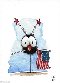 ACEO Original watercolor painting patriotic art whimsy bird crow American flag