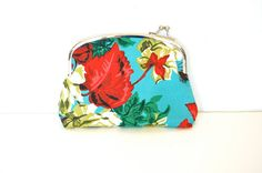 Coin Purse Clutch / Metal Frame / Turquoise Floral with Red Gingham lining