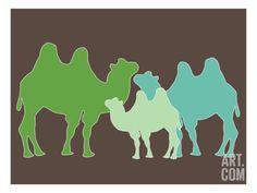 Green Camel Print by Avalisa at Art.com
