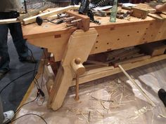 At Woodworking in America this past weekend, Chris marveled at Erik Mortensen's gorgeous customized English Workbench