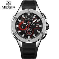 MEGIR Men Sport Watch Chronograph Silicone Strap Quartz Military Watches Waterproof Wrist Watch