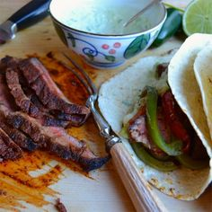 Steak Fajitas with Avocado Lime Crema - taste love and nourish