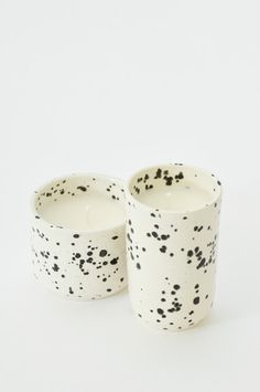 Speckled Black + White Ceramic Soy Candle Handmade in the USA www.koromiko.com