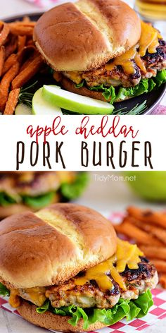 Apple Cheddar Pork Burgers are a simple dinner solution the whole family will devour! Made with just five ingredients and packed with flavor, tart apples. Gourmet Burgers, Burger Recipes, Grilling Recipes, Cooking Recipes, Cheese Recipes, Hamburgers Gastronomiques, Sliders Burger, Carne Picada, Good Burger