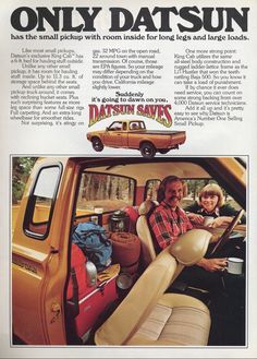 Love the coffee cup and the stash, is it so wrong that I want this truck now? 1977 Datsun King Cab Truck Ad