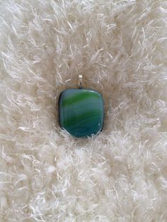 Green/Blue fused glass pendant on Etsy, $10.00