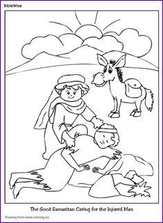 enjoy coloring this picture of the good samaritan caring for the injured man - Good Samaritan Coloring Page
