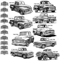 and gen Ford pickup ID chart - Cars, Trucks & Tank - Truck Old Pickup Trucks, Old Ford Trucks, Jeep Pickup, Lifted Trucks, Lifted Ford, Diesel Trucks, Logo Ford, Bicicletas Raleigh, Classic Ford Trucks