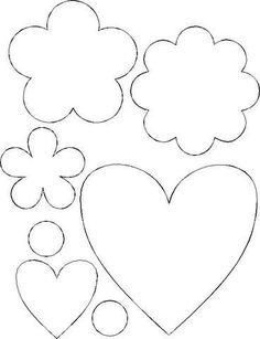 Gata Bacana Moldes: Moldes de Feltro de coração estrela e flores