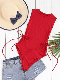 Shop Lace Up Side Sleeveless Bodysuit online. SheIn offers Lace Up Side Sleeveless Bodysuit & more to fit your fashionable needs. Style Fille Cool, Cool Girl Style, Cute Swimsuits, Women Swimsuits, Burgundy Vest, Girl Fashion, Fashion Outfits, Fashion Black, Fashion Ideas