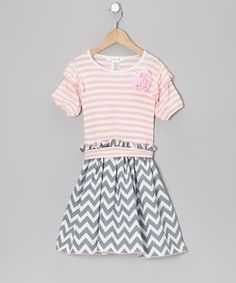 Take a look at this Gray Zigzag & Pink Stripe Dress - Toddler & Girls on zulily today!