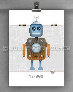 Bild Roboter - Kinderbild Bild Kinderzimmer Print Druck - ein Designerstück von JollyArtPrints bei DaWanda