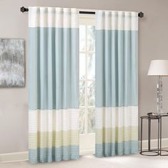 Madison Park Amherst Faux Silk Rod Pocket Curtain With Privacy Lining for Living Room, Window Drapes for Bedroom and Dorm, Green Curtains For Sale, Drapes Curtains, Modern Curtains, Blue Comforter Sets, Thing 1, Rod Pocket Curtains, Window Panels, Modern Colors, Pin Tucks