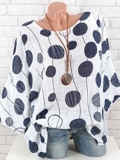 Women Plus Size Long Sleeves top Casual womens O-Neck Polka Dot Blouse Bohemian style Ladies Pullover Tops Shirt blouses mujer Blouse Ample, Polka Dot Shirt, Polka Dots, Plus Size Casual, Casual Tops, Casual Shirts, Moda Online, Batwing Sleeve, Mode Outfits