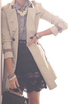 classic feminine style: lace skirt, button down shirt, chunky pearls with a classic trench
