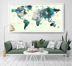 Vintage wall art world map push pin canvas printpush pin world map world map watercolor print world map wall art home decor https gumiabroncs Image collections