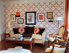 stenciled wall in living room-looks fabulous