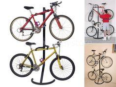 Bike Stand Rack Storage Floor 2 Bicycle Sports Outdoor Garage Holder Organizer #Racor