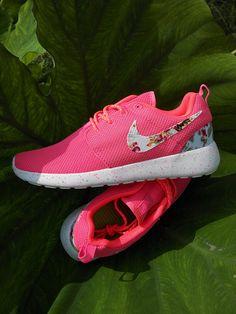 77c18f1c1dc8c Splash Ink Nike Roshe Run Custom Floral Roses Hot Punch Fabric Pattern  Flower