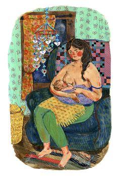 Nursing Mother 4 card set by PhoebeWahl on Etsy