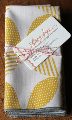 Hand Printed Cloth Napkins, Sunshine Yellow, SET of FOUR Anna Joyce Textile Collection. $36,00, via Etsy.
