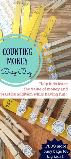 counting money busy bag is perfect for big kids who want to learn how to add money and the value of coins!This counting money busy bag is perfect for big kids who want to learn how to add money and the value of coins! Big Kids, Math For Kids, Fun Math, Math Activities, Maths, Subtraction Activities, Math Math, Kindergarten Math, Multiplication