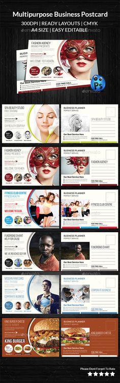 Multipurpose Business Postcard Template #design Download: http://graphicriver.net/item/multipurpose-business-postcard-/11549760?ref=ksioks
