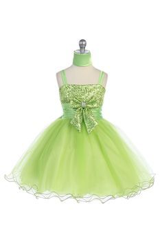 Click to enlarge : Lime Sequenced Fancy Flower Girl Dress