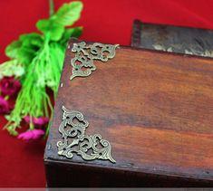 8PCS 45m Classical Vintage Metal Accent Trim Triangle Corner, Protection  Woodwork Embellishment, Wooden Box