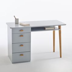 Inspired by Scandi design for an on-trend feel, this pine desk is designed with 4 drawers for lots of storage. Teen Furniture, Small Furniture, Large Drawers, Desk With Drawers, Small Room Desk, Plywood Desk, Pine Desk, Grey Desk, Teen Room Decor