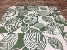 White tablecloth with green striped leaves, Scandinavian design, modern style, striped tablecloth by SiKriDream on Etsy