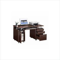 Amazon.com: Techni Mobili Complete Computer Workstation With Cabinet And  Drawers   Chocolate: