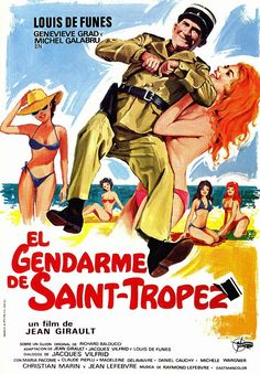 High resolution Spanish movie poster image for Le gendarme de St. French Movies, Old Movies, Great Movies, Vintage Comics, Vintage Posters, Jean Lefebvre, Frances Movie, Film Mythique, Films Cinema