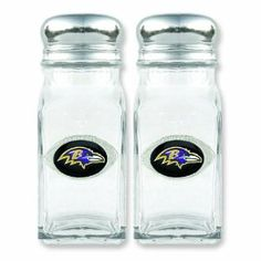 "NFL Baltimore Ravens Glass Salt & Pepper Shakers by FindingKing. $35.99. It makes a great gift for you or a loved one. This is a new set of NFL Baltimore Ravens glass salt and pepper shakers. Spice up your favorite meal while showing team spirit. It measures approximately 3 1/2"" x 1 1/2"" x 3 3/4"" (88.9 x 38.1 x 95.2). This is an officially licensed NFL product. NFL Baltimore Ravens Glass Salt & Pepper Shakers      This is a new set of NFL Baltimore Ravens glass salt and p..."