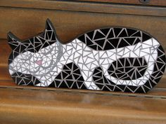 Sleepy Black and White Cat in Mosaic Tile